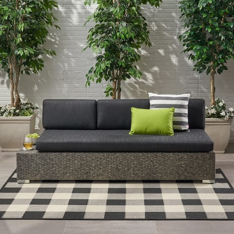 Puerta Outdoor 3-seat Wicker Left/Right Sofa by Christopher Knight Home