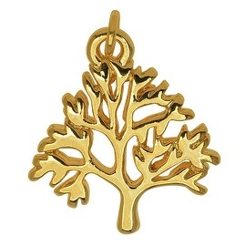 Gold Plated Lightweight Charm, Tree of Life 18.8x17x2mm, 1 Piece, Gold