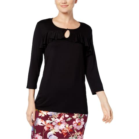 NY Collection Womens Ruffled Keyhole Pullover Blouse, black, Small