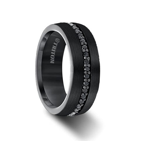 GLADIATOR Black Tungsten Ring with Black Sapphires Triton Ring- 8mm
