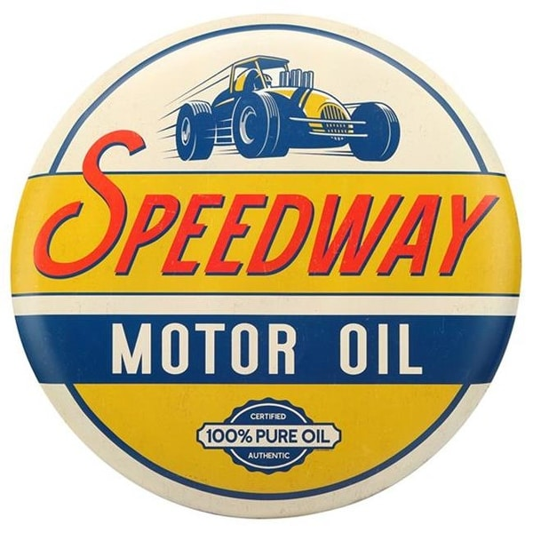 Shop Open Road Brands 90169057-S Speedway Motor Oil Tin Button Sign - Free Shipping Today - Overstock - 25001128