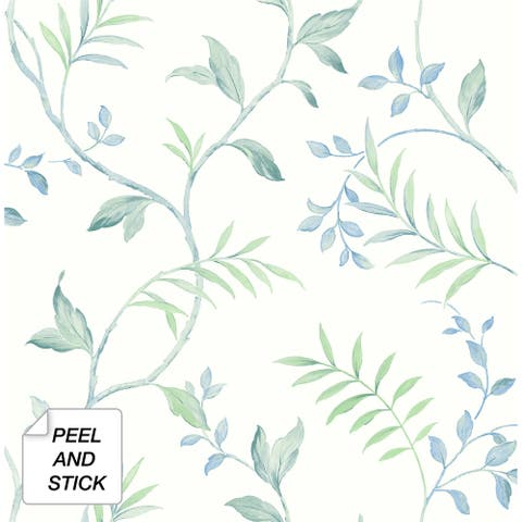 NextWall Watercolor Leaf Trail Peel and Stick Wallpaper - 20.5 in. W x 18 ft. L