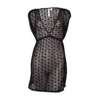 Miken Women's V-Neck Crochet Dress Swimsuit Cover Up (M, Black) - Black - M