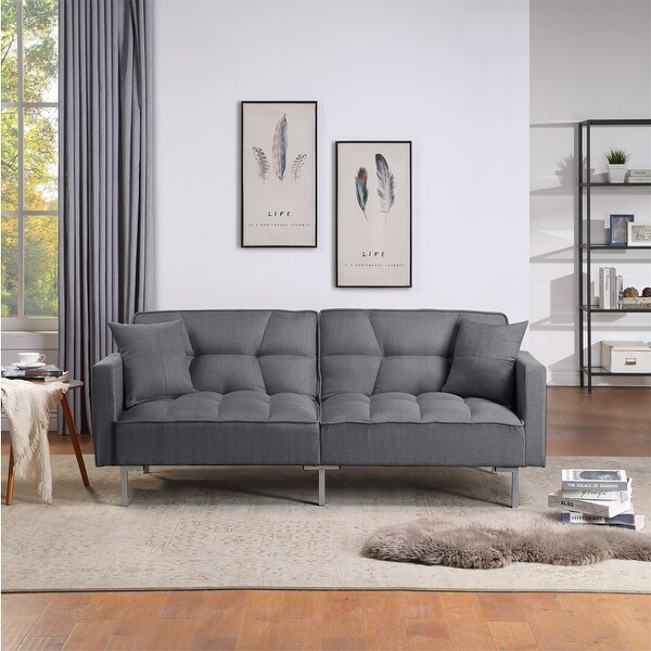 Merax Upholstery Fabric Sleeper Sofa, Square Arm Sofa Bed. Opens flyout.