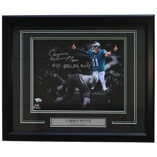 Carson Wentz Signed Framed 11x14 Philadelphia Eagles Photo Fly Eagles Fantatics