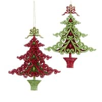 Club Pack of 12 Red and Green Glitter Decorative Christmas Tree Ornaments