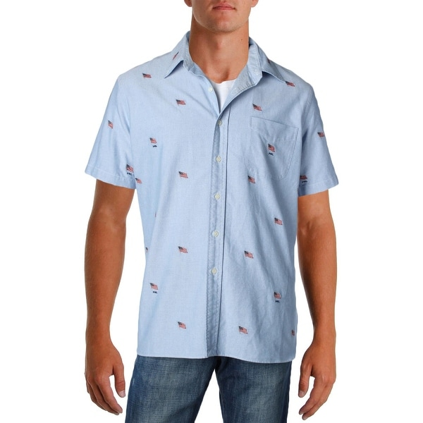 410162711 Shop Ralph Lauren Mens Button-Down Shirt Chambray Flag Print - Free  Shipping On Orders Over $45 - Overstock - 22312242