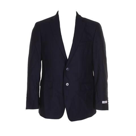 Calvin Klein Mens Navy Blue Black Slim-Fit Textured Single Breasted Sport Coat - 40