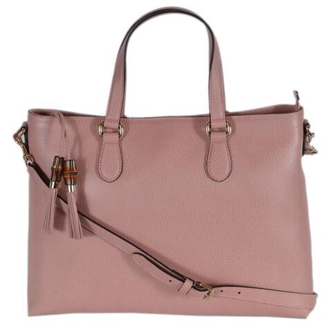 Gucci 449643 Pink Leather Convertible Bamboo Tassel Purse Handbag - Geranium Pink