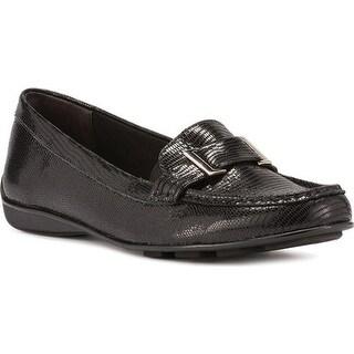 Walking Cradles Women's March Loafer Black Lizard Printed Leather