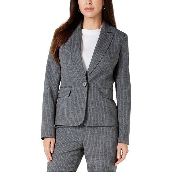 Le Suit Womens Pinstripe One Button Blazer Jacket, Grey, 6P. Opens flyout.