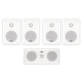 Acoustic Audio AA351W and AA35CW Indoor Speakers Home Theater 5 Speaker Set