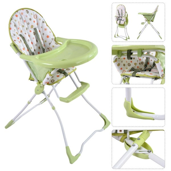 Baby High Chair Infant Toddler Feeding Booster Seat Folding Safety Portable - Green