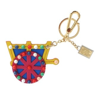 Dolce & Gabbana Multicolor Leather Cart Wheel Gold Keychain - One size