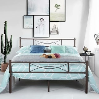 Simlife Easy to Set -up Twin/Full Metal Bed Frame (Coffee) - Coffee