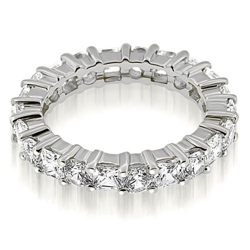3.50 cttw. 14K White Gold Basket Round and Princess Diamond Eternity Band Ring