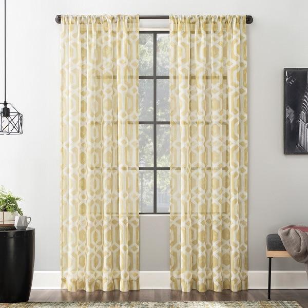 Shop Scott Living Sloane Trellis Print Linen Blend Sheer