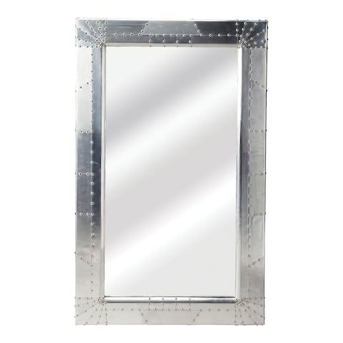 Offex Modern Rectangular Aluminium Midway Aviator Wall Mirror - Silver
