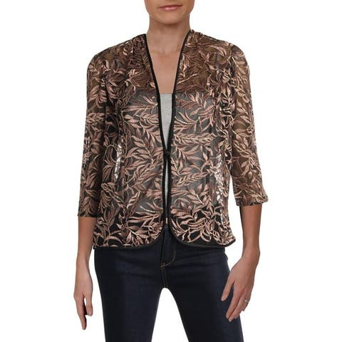 Alex Evenings Womens Petites Jacket Mesh Embroidered