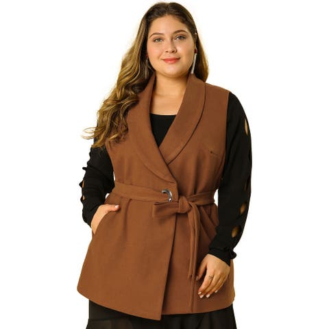 Women's Plus Size Belted Sleevesless Mid Thigh Casual Jacket