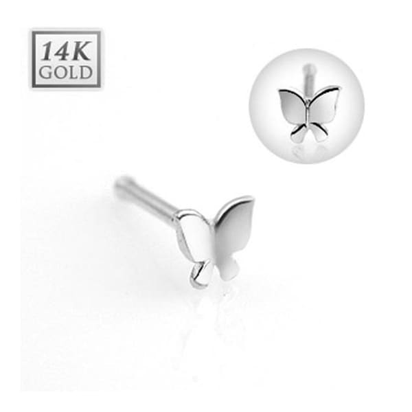 "14 Karat Solid White Gold Butterfly Nose Stud Ring - 20 GA 5/16"" Long (Sold Ind.)"