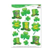 """Club Pack of 156 St Patrick's Day Clings Holiday Window Decorations 17"""" - Green"""
