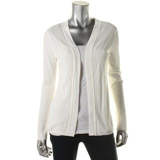 Jones New York Womens Ribbed Knit Open Front Cardigan Sweater