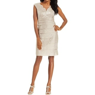 London Times Womens Cocktail Dress Ruffle Lace