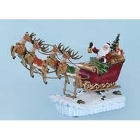 "15"" Amusements Musical ""We Wish You A Merry Christmas"" Rocking Santa and Sleigh Decoration - RED"