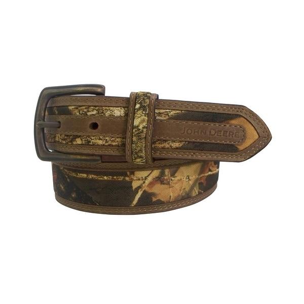 John Deere Western Belt Mens 38MM Antique Brass Brown Camo