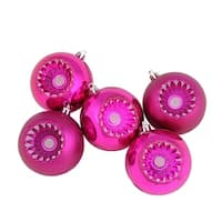 """5ct Shiny and Matte Red Raspberry Retro Reflector Shatterproof Christmas Ball Ornaments 3.25"""" (80mm)"""