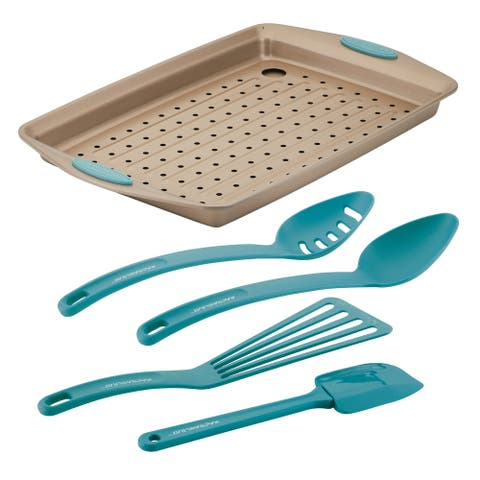 Rachael Ray Cucina Nonstick Bakeware and Tool Set, 6-Piece, Agave Blue