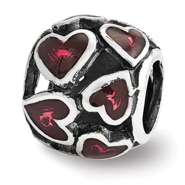 Sterling Silver Reflections Red Enamel Filigree Heart Bead (4mm Diameter Hole)