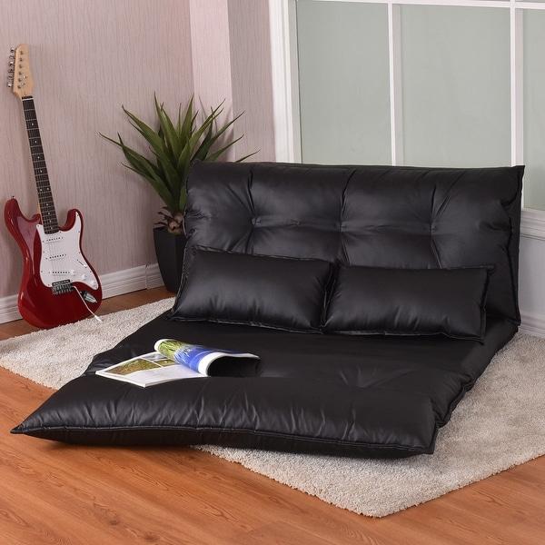 Shop Costway Pu Leather Foldable Modern Leisure Floor Sofa