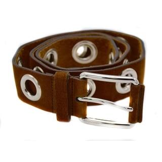 Women's Brown Suede Leather Grommet Belt