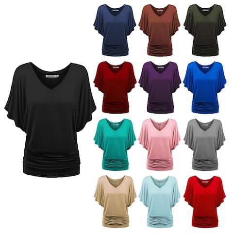 Women's Solid Short Sleeve V Neck Dolman Top