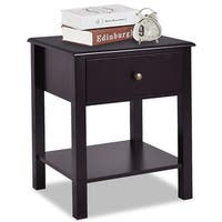 Costway End Table Nightstand Storage Display Furniture Drawer Shelf Beside Brown