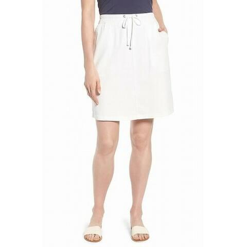 Nic + Zoe Women's White Size 12P Petite Drawstring Stretch Knit Skirt