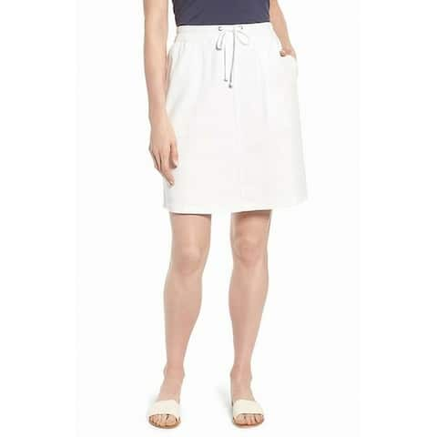 Nic + Zoe Women's White Size 14P Petite Drawstring Stretch Knit Skirt