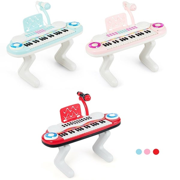 Gymax Z-Shaped Kids Toy Keyboard 37-Key Electronic Piano Blue Pink Red