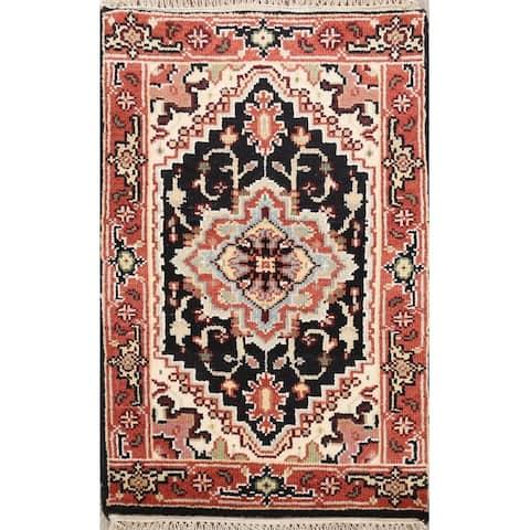 "Geometric Heriz Oriental Home Decor Area Rug Hand-Knotted Wool Carpet - 2'0"" x 3'0"""