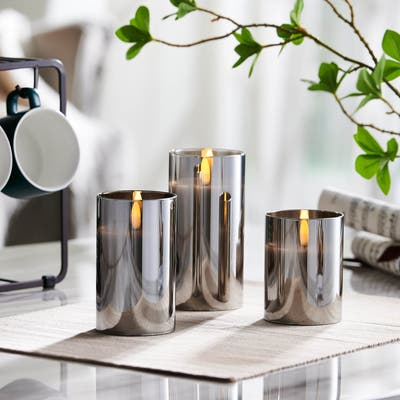 """Mirrored Glass LED Flameless Candle Set of 3 - 3"""" Diameter x 4"""", 5"""", 6"""" high"""