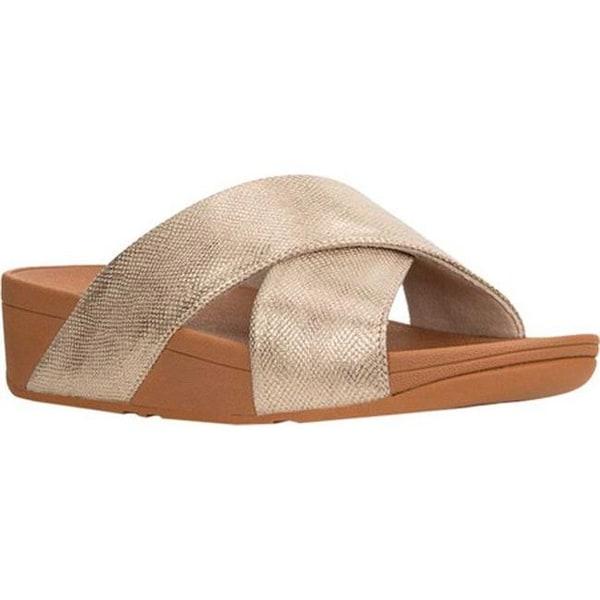 18e12a7b20da FitFlop Women  x27 s Lulu Crisscross Slide Gold Shimmer Snake Print Faux  Leather