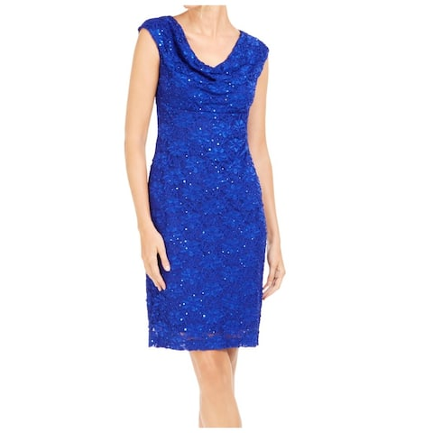 Connected Apparel Women's Dress Blue Size 8 Sheath Sequined Lace