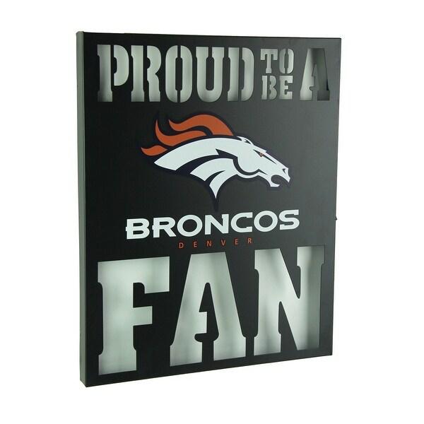 0dfc7f12d9c91 Proud To Be A Denver Broncos Fan Cutout Metal Wall Sign - Black - 14.75 X