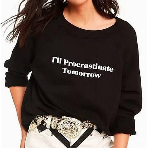 WILDFOX Procrastinate Tomorrow Print Black Small S Crewneck Sweater