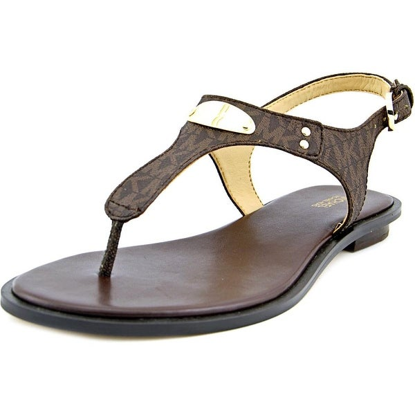 Michael Michael Kors MK Plate Thong Women Open Toe Leather Brown Thong Sandal