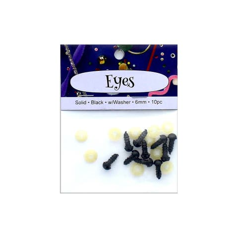 PA Ess Solid Eyes w/Washer 6mm 10pc Black