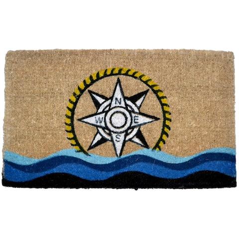 """30"""" Blue and Brown Rectangular Compass Basic Coir Door Mat"""