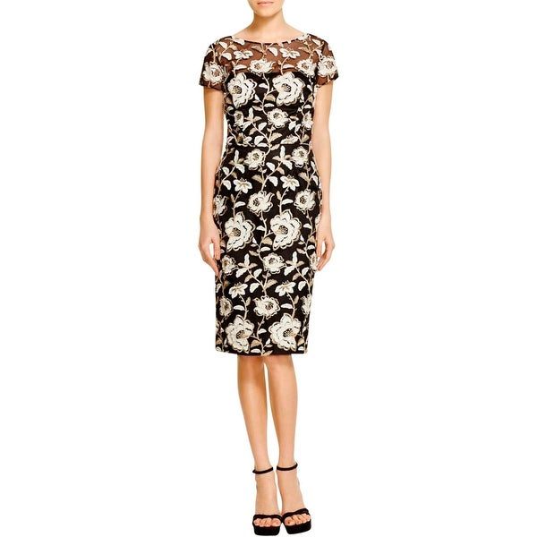 David Meister Womens Cocktail Dress Mesh Embroidered